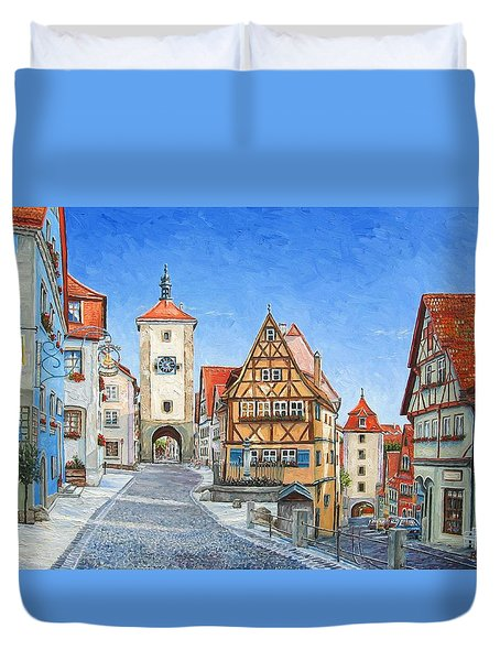 Rothenburg Germany Duvet Cover by Mike Rabe