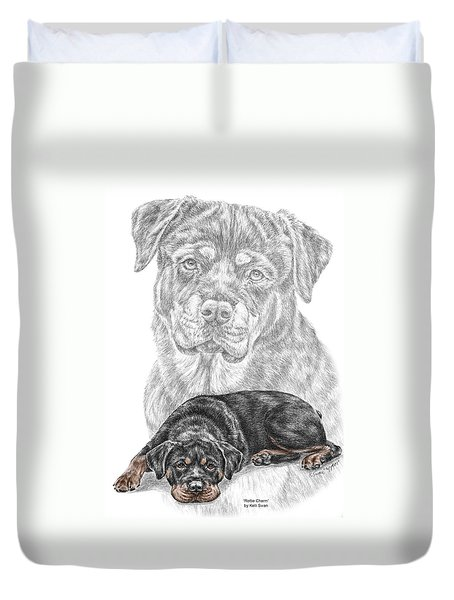 Rottie Charm - Rottweiler Dog Print With Color Duvet Cover by Kelli Swan