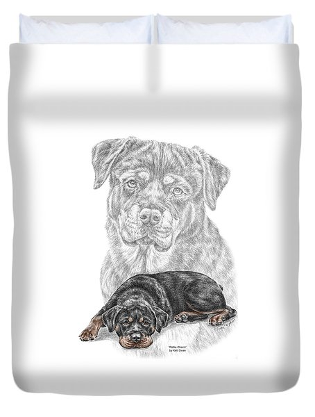 Rottie Charm - Rottweiler Dog Print With Color Duvet Cover