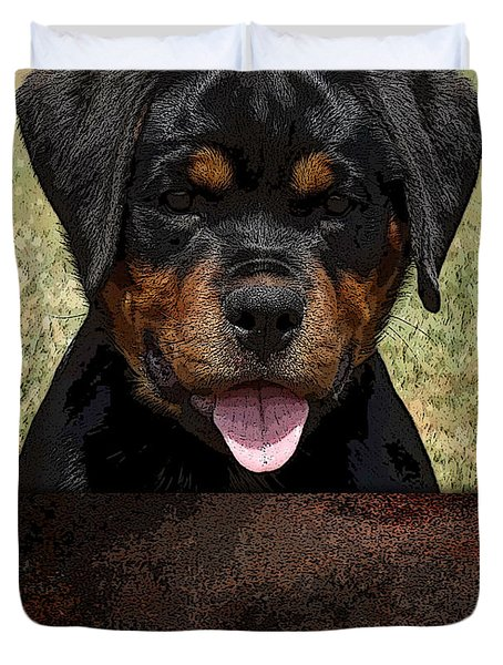 Duvet Cover featuring the mixed media Rottweiler by Marvin Blaine