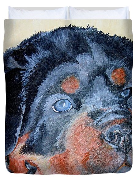 Duvet Cover featuring the painting Rottweiler Puppy Portrait by Tracey Harrington-Simpson