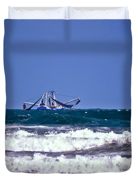 Duvet Cover featuring the photograph Rough Seas Shrimping by DigiArt Diaries by Vicky B Fuller