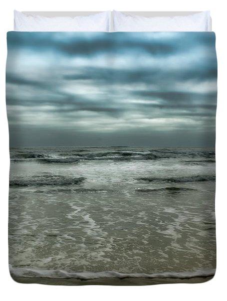 Duvet Cover featuring the photograph Rough Surf by Ellen Heaverlo