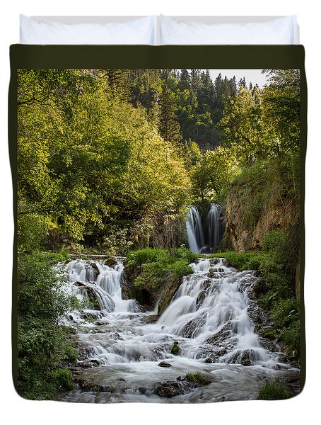 Duvet Cover featuring the photograph Roughlock Falls South Dakota by Patti Deters
