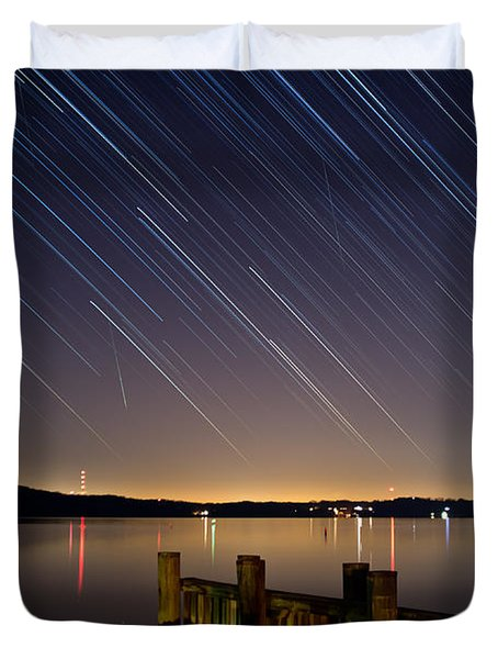 Round Bay Startrails And A Meteor Shower Duvet Cover by Benjamin Reed