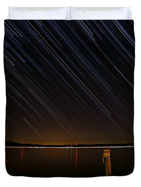 Round Bay Startrails Duvet Cover by Benjamin Reed