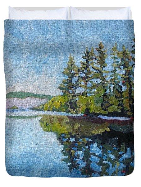 Round Lake Mirror Duvet Cover