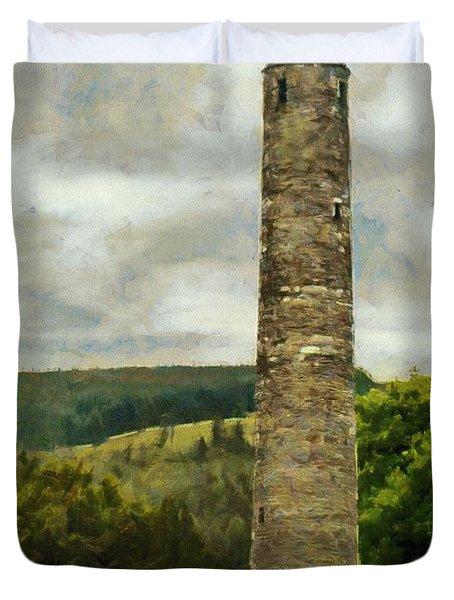 Round Tower At Glendalough Duvet Cover by Jeff Kolker