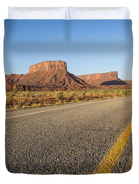Route 128 Near Castle Valley Duvet Cover by Adam Romanowicz