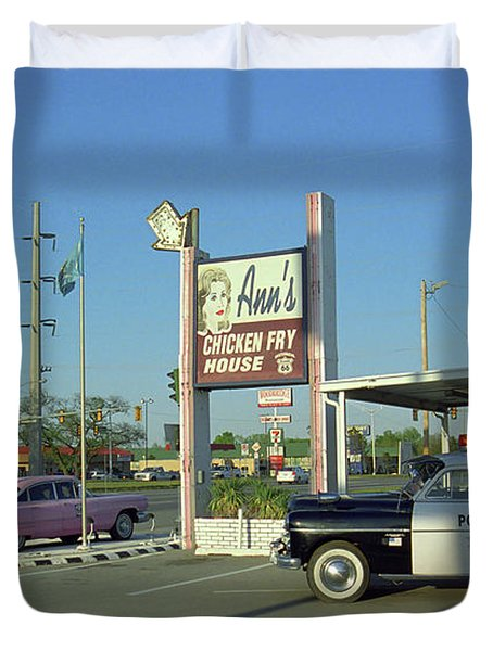 Route 66 - Anns Chicken Fry House Duvet Cover
