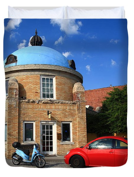Route 66 - Blue Dome Of Tulsa Duvet Cover
