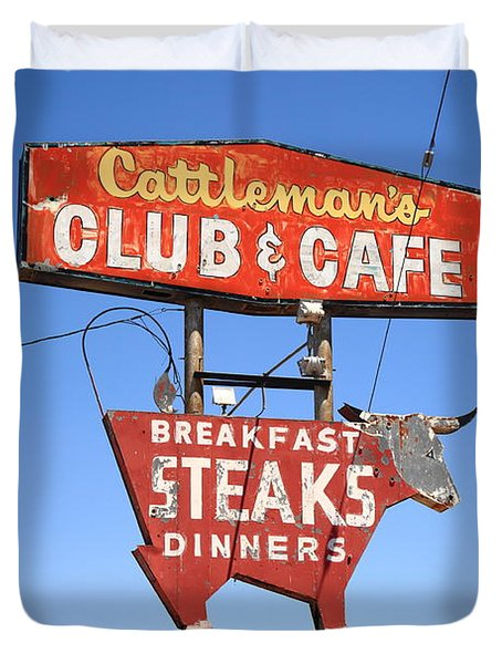 Route 66 - Cattleman's Club And Cafe Duvet Cover