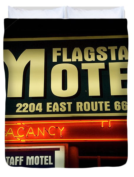 Route 66 Flagstaff Motel Duvet Cover by Bob Christopher