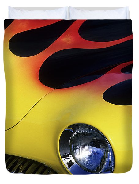 Route 66 Flaming Rod Duvet Cover by Bob Christopher