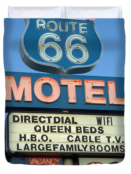 Route 66 Motel Sign 3 Duvet Cover by Bob Christopher