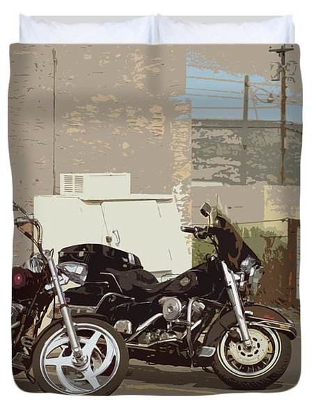Route 66 Motorcycles With A Dry Brush Effect Duvet Cover by Frank Romeo