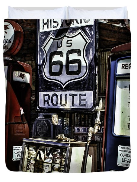 Duvet Cover featuring the painting Route 66 by Muhie Kanawati