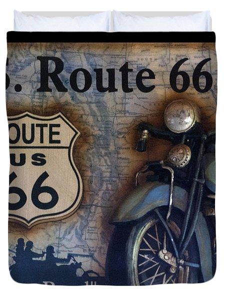 Route 66 Odell Il Gas Station Motorcycle Signage Duvet Cover
