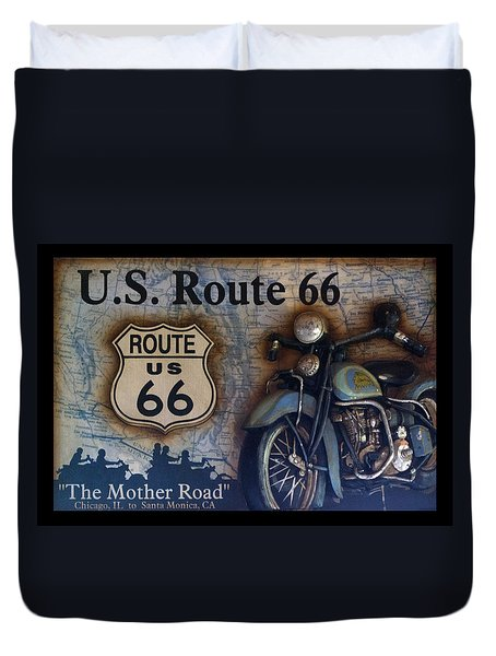 Route 66 Odell Il Gas Station Motorcycle Signage Duvet Cover by Thomas Woolworth