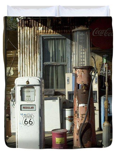 Route 66 Pumps Duvet Cover by Bob Christopher