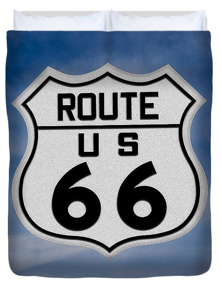 Route 66 Road Sign Duvet Cover by Gary Warnimont