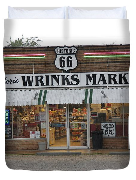 Route 66 - Wrink's Market Duvet Cover by Frank Romeo