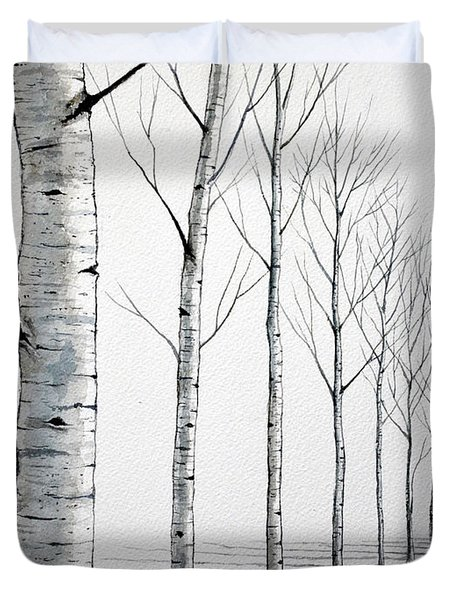Row Of Birch Trees In The Snow Duvet Cover