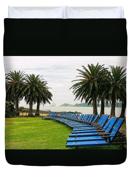 Row Of Blue Duvet Cover