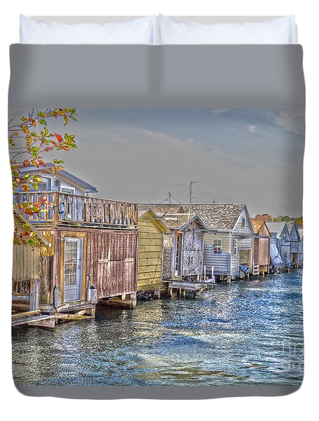 Row Of Boathouses Duvet Cover