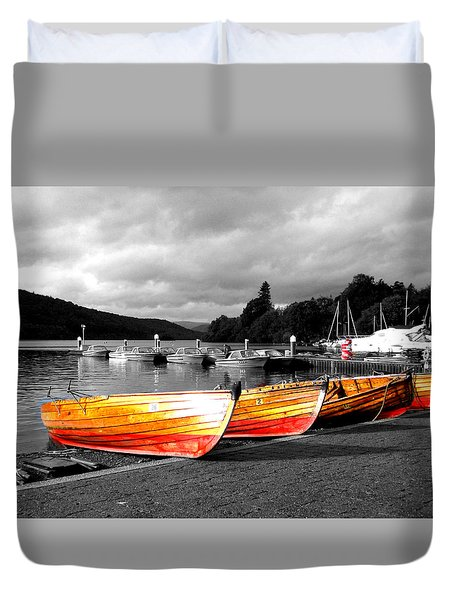 Rowing Boats Ready For Work Duvet Cover
