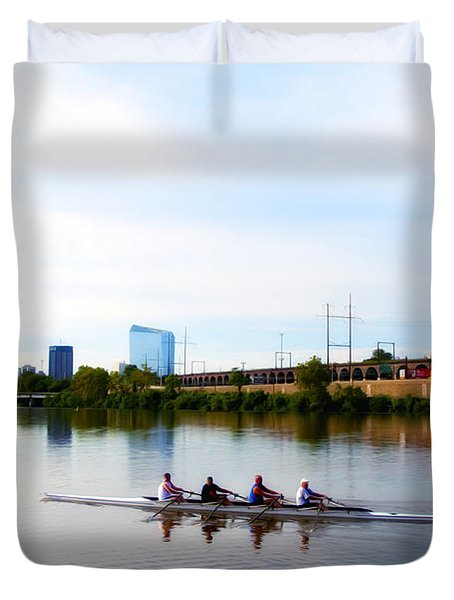 Rowing In Philadelphia Duvet Cover by Bill Cannon