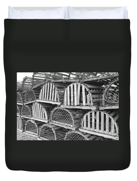Rows Of Old And Abandoned Lobster Traps Duvet Cover by John Telfer
