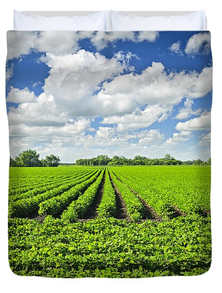 Rows Of Soy Plants In Field Duvet Cover