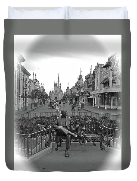 Roy And Minnie Mouse Black And White Magic Kingdom Walt Disney World Duvet Cover by Thomas Woolworth