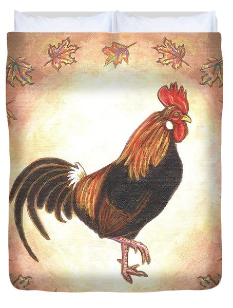 Roy The Rooster Two Duvet Cover by Linda Mears