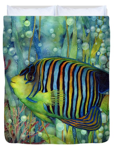 Duvet Cover featuring the painting Royal Angelfish by Hailey E Herrera