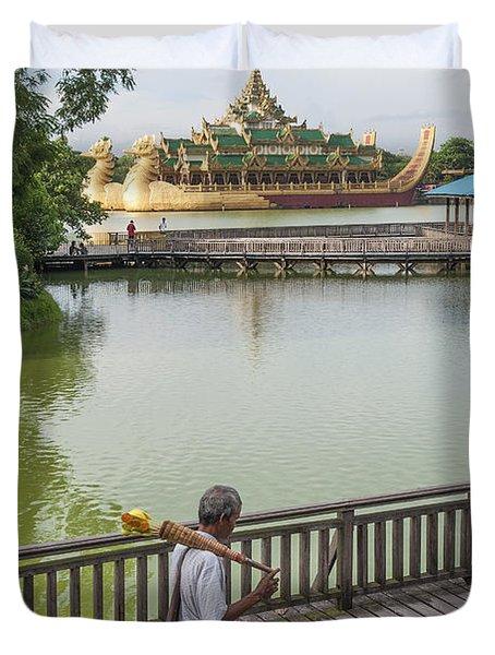 Royal Barge In Yangon Myanmar  Duvet Cover