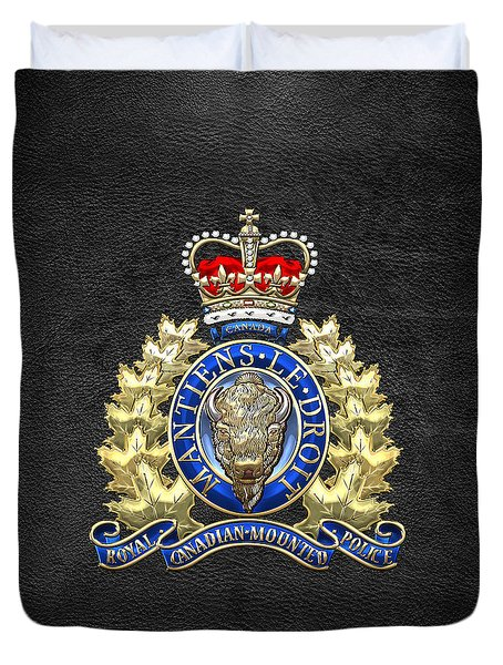 Royal Canadian Mounted Police - Rcmp Badge On Black Leather Duvet Cover