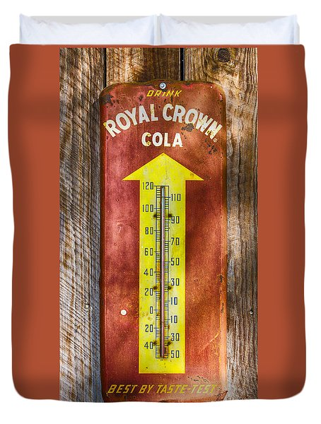 Duvet Cover featuring the photograph Royal Crown Barn Thermometer by Carolyn Marshall