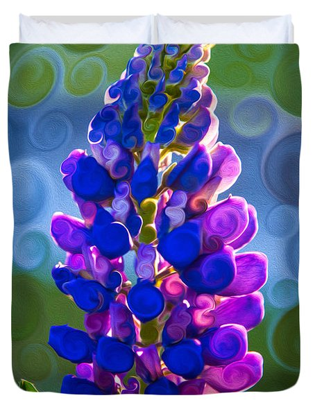 Royal Purple Lupine Flower Abstract Art Duvet Cover