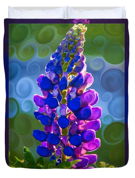 Royal Purple Lupine Flower Abstract Art Duvet Cover