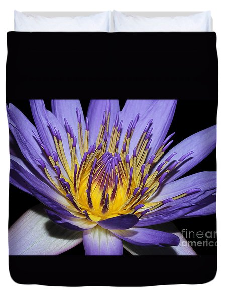 Royal Purple Water Lily #5 Duvet Cover by Judy Whitton