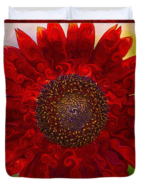 Royal Red Sunflower Duvet Cover