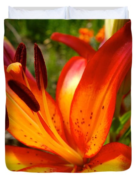 Royal Sunset Lily Duvet Cover by Jacqueline Athmann