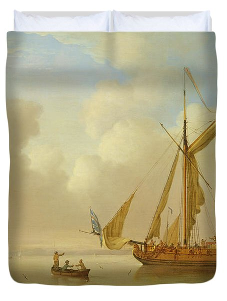 Royal Yacht Becalmed At Anchor Duvet Cover by  Peter Monamy