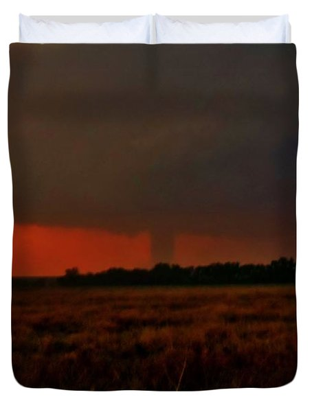 Duvet Cover featuring the photograph Rozel Tornado On The Horizon by Ed Sweeney