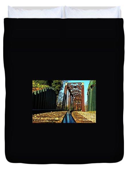 6th Street Trestle Bridge Relections Augusta Georgia Savannah River Art Duvet Cover