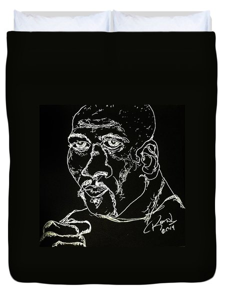 Duvet Cover featuring the drawing Rubin Hurricane Carter by Rand Swift