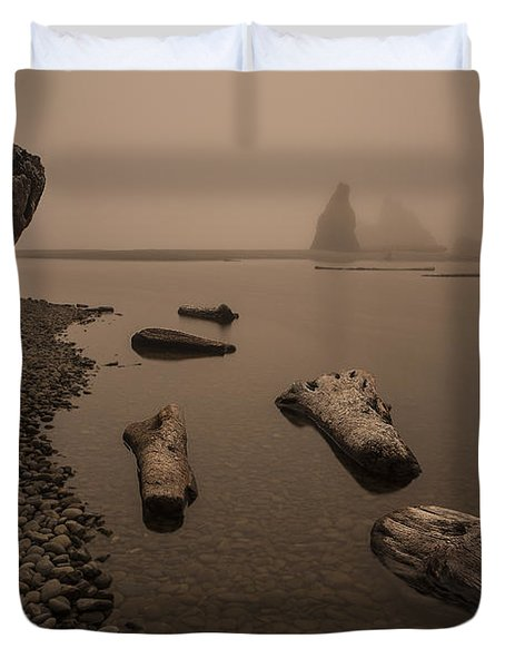 Ruby Beach Fog Duvet Cover