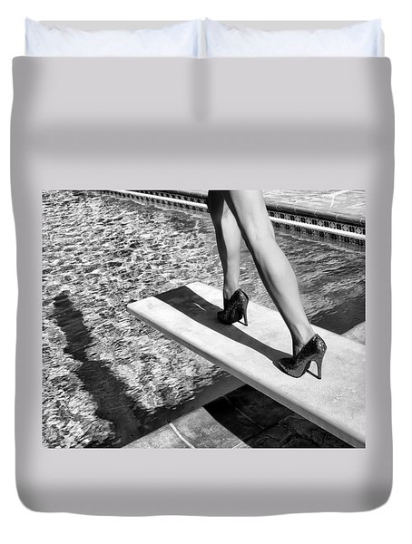 Ruby Heels Bw Palm Springs Duvet Cover